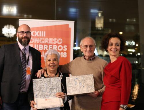 Paco Puche y Concha Quirós libreros homenajeados en el Congreso de Libreros Sevilla 2018